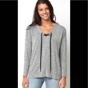 Anthropologie Rails Lace Up Gray Sweater Small